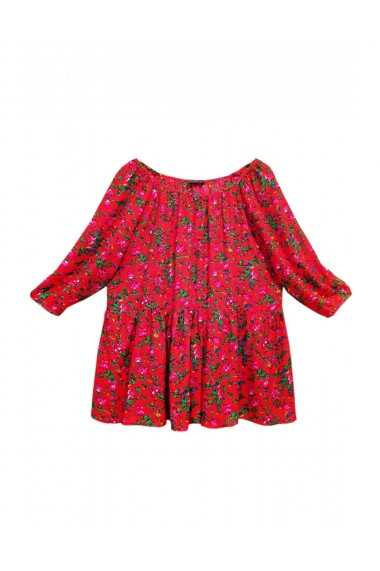 Bluza pentru dama din casmir cu imprimeu floral rosu DAE8078