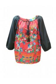 Bluza pentru dama din casmir cu imprimeu floral rosu DAE8079