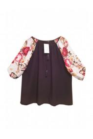 Bluza pentru dama din casmir cu imprimeu floral mov pruna DAE8082