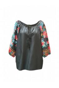 Bluza pentru dama din casmir cu imprimeu floral negru DAE8083