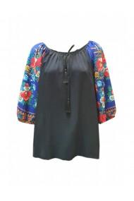 Bluza pentru dama din casmir cu imprimeu floral negru DAE8084