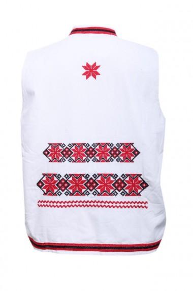 Vesta barbati cu motive traditionale alb DAE2632