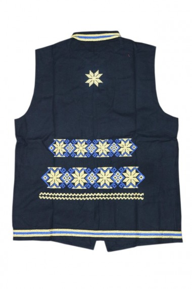 Vesta barbati cu motive traditionale negru DAE4679