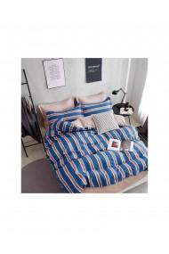 Lenjerie de pat cu dungi bumbac satinat 220x230 cm 6 piese DAE8134