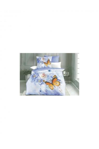 Lenjerie de pat cu fluturi bumbac satinat 220x230 cm 6 piese DAE8135