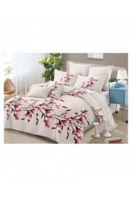 Lenjerie de pat cu flori de magnolie bumbac satinat 220x230 cm 6 piese DAE8139