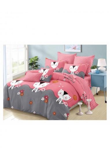 Lenjerie de pat roz cu pisicute bumbac satinat 220x230 cm 6 piese DAE8140