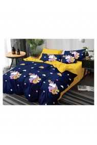 Lenjerie de pat pentru copii model unicorn bumbac satinat 220x230 cm 6 piese DAE8144