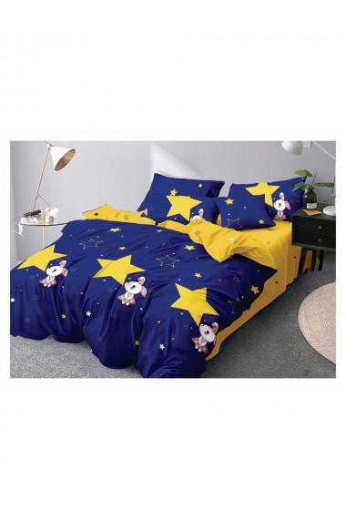 Lenjerie de pat pentru copii model iepuras bumbac satinat 220x230 cm 6 piese DAE8146
