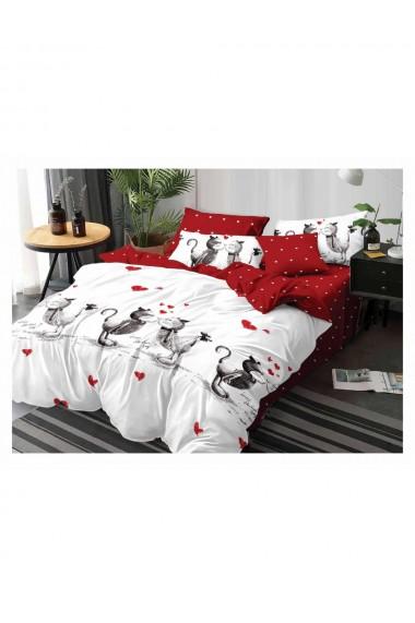 Lenjerie de pat pentru copii cu pisicute bumbac satinat 220x230 cm 6 piese DAE8148