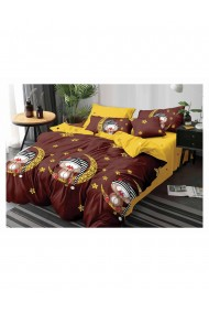 Lenjerie de pat pentru copii cu pinguini bumbac satinat 220x230 cm 6 piese DAE8149