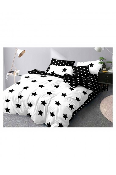 Lenjerie de pat cu stelute bumbac satinat 220x230 cm 6 piese DAE8152