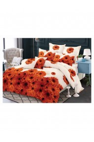 Lenjerie de pat cu flori model crizanteme bumbac satinat 220x230 cm 6 piese DAE8153