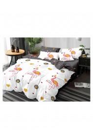 Lenjerie de pat pentru copii little princess-flamingo bumbac satinat 220x230 cm 6 piese DAE8154