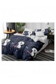Lenjerie de pat pentru copii cu catelusi bumbac satinat 220x230 cm 6 piese DAE8156