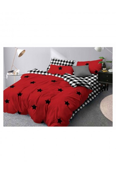 Lenjerie de pat cu stelute bumbac satinat 220x230 cm 6 piese DAE8157