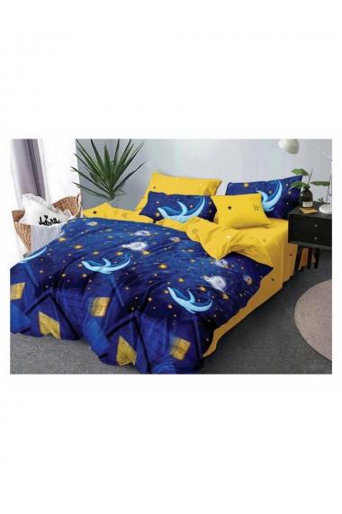 Lenjerie de pat cu delfini bumbac satinat 220x230 cm 6 piese DAE8165