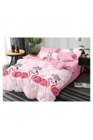 Lenjerie de pat cu flamingo bumbac satinat 220x230 cm 6 piese DAE8372