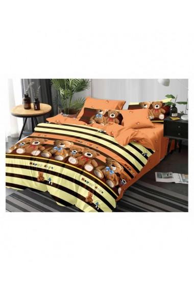 Lenjerie de pat pentru copii cu ursuleti bumbac satinat 220x230 cm 6 piese DAE8374
