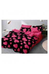 Lenjerie de pat cu inimi roz bumbac satinat 220x230 cm 6 piese DAE8375