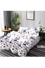 Lenjerie de pat alba cu fluturi colorati 220x230 cm 6 piese DAE8381