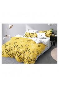 Lenjerie de pat galben cu inimi 220x230 cm 6 piese DAE8383