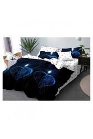 Lenjerie de pat albastra cu inimi 220x230 cm 6 piese DAE8384
