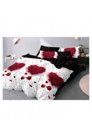 Lenjerie de pat cu trandafiri in forma de inima 220x230 cm 6 piese DAE8386