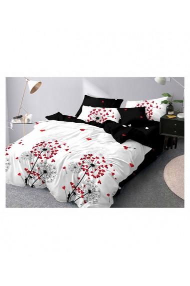 Lenjerie de pat cu flori si inimi 220x230 cm 6 piese DAE8387