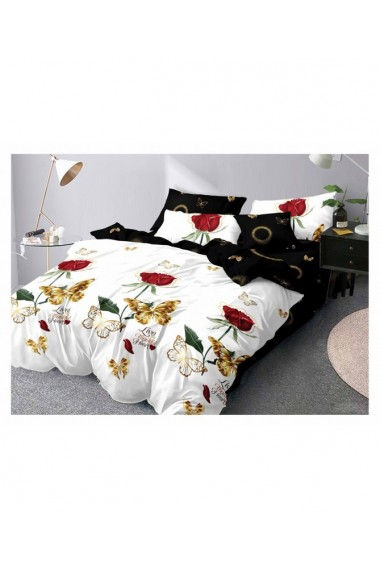 Lenjerie de pat cu trandafiri si fluturi 220x230 cm 6 piese DAE8389