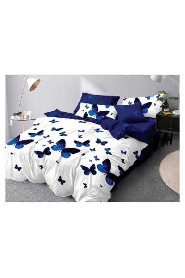 Lenjerie de pat cu fluturi de culoare albastru 220x230 cm 6 piese DAE8393