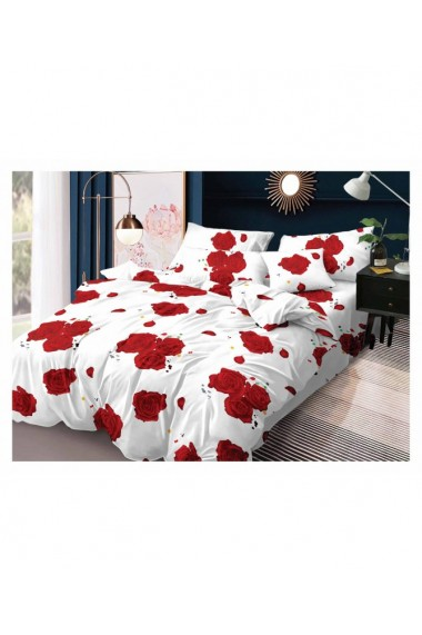 Lenjerie de pat cu trandafiri rosii 220x230 cm 6 piese DAE8396