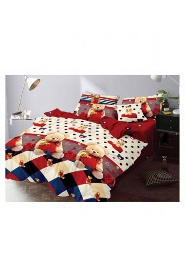 Lenjerie de pat pentru copii cu ursuleti 220x230 cm 6 piese DAE8402