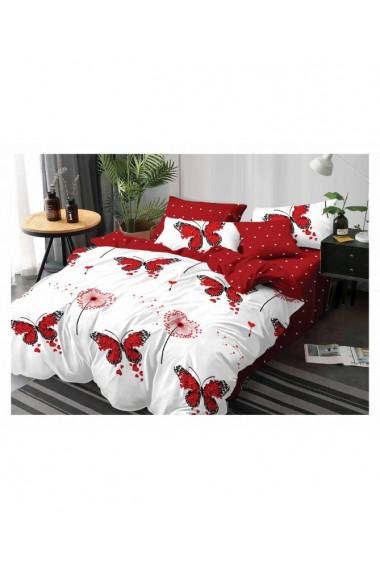 Lenjerie de pat cu fluturi rosii 220x230 cm 6 piese DAE8403