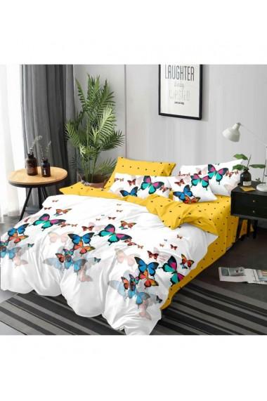 Lenjerie de pat cu fluturi multicolori 220x230 cm 6 piese DAE8414