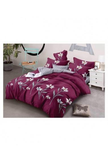 Lenjerie de pat cu flori-margarete 220x230 cm 6 piese DAE8420