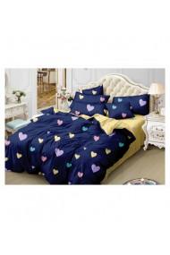 Lenjerie de pat cu inimi-albastru-galben 220x230 cm 6 piese DAE8562