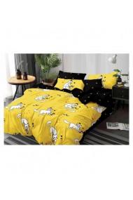 Lenjerie de pat pentru copii cu pisicute galben-negru 220x230 cm 6 piese DAE8563