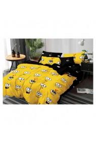Lenjerie de pat pentru copii galben-negru 220x230 cm 6 piese DAE8564