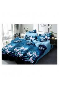 Lenjerie de pat cu fluturi albastru-bleu 220x230 cm 6 piese DAE8565