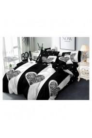 Lenjerie de pat cu inimi alb-negru 220x230 cm 6 piese DAE8566