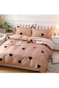 Lenjerie de pat cu inimi crem-roz pal 220x230 cm 6 piese DAE8567