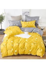 Lenjerie de pat cu stelute galben-gri 220x230 cm 6 piese DAE8571