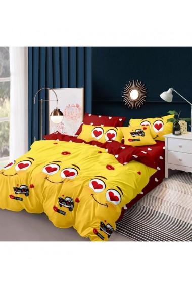 Lenjerie de pat cu inimi si masini galben-rosu 220x230 cm 6 piese DAE8572