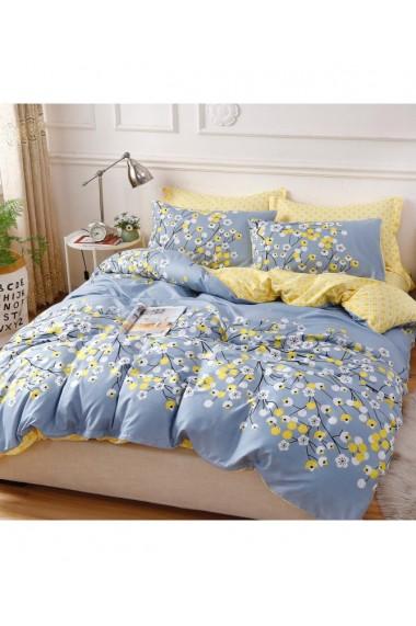 Lenjerie de pat cu flori galben-grei 220x230 cm 6 piese DAE8573