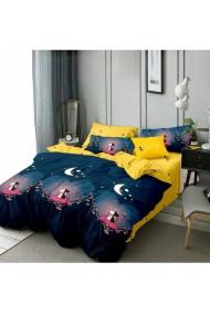 Lenjerie de pat pentru copii cu pisicute galben-albastru 220x230 cm 6 piese DAE8574