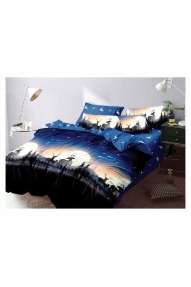 Lenjerie de pat pentru Craciun albastru 220x230 cm 6 piese DAE8575