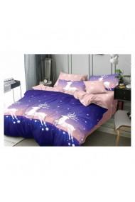 Lenjerie de pat pentru Craciun roz-albastru 220x230 cm 6 piese DAE8576