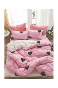 Lenjerie de pat roz cu inimioare 220x230 cm 6 piese DAE8577