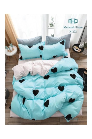 Lenjerie de pat albastru cu inimioare 220x230 cm 6 piese DAE8578